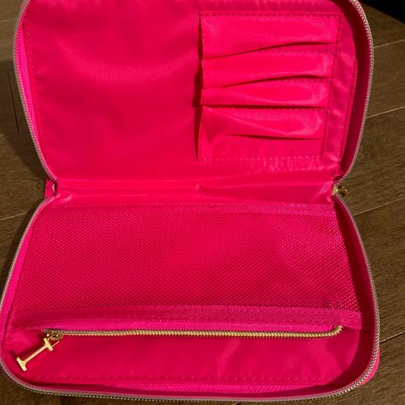 pink cheetah print makeup bag, travel size
